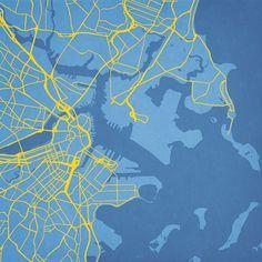 Boston, Massachusetts - City Prints Map Art