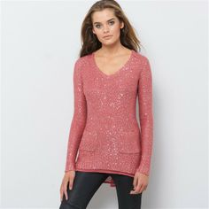 La Redoute Pink Tunic Sweater with Sequins and Open Voile Back