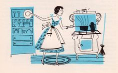 my vintage book collection (in blog form).: In the shop.... Cutco Cook Book - illustrated by Frank Marcello — Designspiration