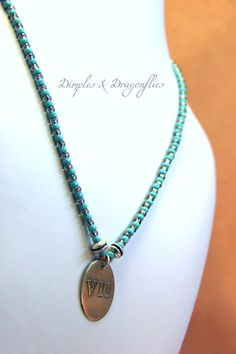 Beautiful Etched Pendant From Dimples and Dragonflies - https://www.etsy.com/listing/157361798/turquoise-silver-necklace-beadwork?ref=shop_home_active_15