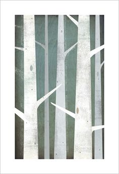 Winter Woods 10x16 graphic art Illustration GICLEE print signed By Ryan Fowler