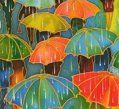 Silver Rain by Yelena Sidorova | mixed media artwork | Ugallery Online Art Gallery.  ---tempera paint and glue for the gold outline and then warm and cool color review with watercolors, and finally dashes of white tempera for the rain. This would make a cool project.