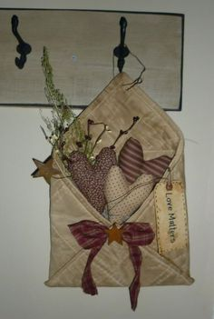Prim Quilted Fabric Envelope...stuffed with hearts & sweet annie...rusty stars & a tag.