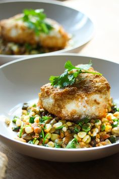 Cornmeal Crusted Fish ( or TOFU) with Fava Bean and Summer Succotash, and lime and cilantro - a delicious meal using fresh farmers market ingredients.