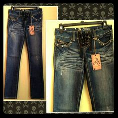 Antique Rivet Sexy Lace Up Skinny Jeans Designer Antique Rivet skinny jeans. Size 25.   Sexy lace-up fly. Button flap back pockets with leather, rhinestone and brass stud detail. Leather, rhinestone and brass stud detail on front pockets. These jeans are hot!! Unfortunately they do not fit me otherwise I'd keep them. Antique Rivet Jeans Skinny