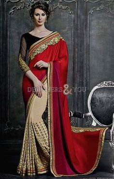 #Indiansari with #designerblouse patterns catalogue style embroider and full sleeves
