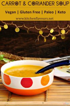 Spicy and filling Carrot and Coriander Soup is a comfort in a bowl recipe. This hearty and healthy soup is vegan, gluten and nut free. If you are following keto or paleo diet, you can easily include this soup in your menu. Just a handful of easily available ingredients and simple preparation steps is all you need to follow to make this nutritious and delicious soup. #soup #yummyfood #paleo #keto #vegan #glutenfree #comfortinbowl #plantbased #pinterest Delicious Vegan Recipes, Vegetarian Recipes, Yummy Food, Halal Recipes, Indian Food Recipes, Carrot And Coriander Soup, Ramadan Recipes, Food Court, Alcohol Recipes