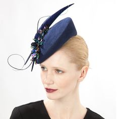 Jasper (side view) | Jane Taylor Millinery | Feather and sequin cocktail hat | Elegant velour felt cocktail hat with intricate sequin, angular feather and quill detail. Perfect for a Winter wedding or formal event