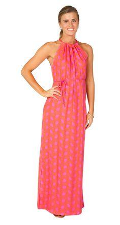 Escapada Living   Sleeveless Alice maxi dress in Pink/ Tangerine Santorini
