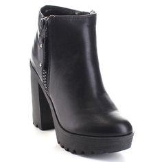 Soda Sparky-S Women's High Platform Lug Sole Side Zipper Party Ankle Bootie (-7)