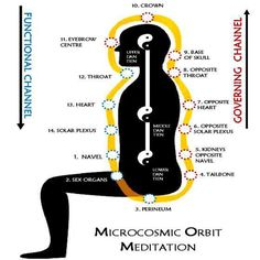 """""""The Microcosmic Orbit also known as the 'Self Winding Wheel of the Law' and the circulation of light is a Taoist Qigong or Taoist yoga Qi energy cultivation technique. It involves deep breathing exercises in conjunction with meditation and concentration techniques which develop the flow of qi along certain pathways of energy in the human body........PARTAGE OF JEFF ANDREWS.......ON FACEBOOK........"""