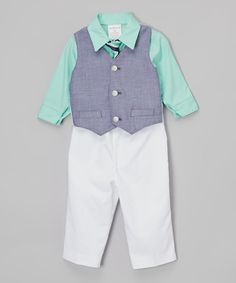 Look at this Andes Mint Chambray Four-Piece Vest Set - Infant on #zulily today!