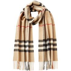 Burberry Shoes & Accessories Cashmere Giant Check Scarf ($599) ❤ liked on Polyvore featuring accessories, scarves, burberry, beige, cashmere scarves, burberry shawl, colorful scarves and multi colored scarves