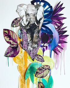 Collage and digital illustration by Holly Sharpe — Drawing. Indian Elephant, Elephant Love, Collage Illustration, Digital Illustration, Elephant Sketch, Watercolor Animals, Watercolour, Wax Art, Jungle Print