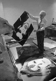 Available for sale from Maison Gerard, Robert Levin, Andy Warhol Holding Dracula Myth 1981 Original print made with archival ink on acid free rag p… Andy Warhol Photography, Artist Inspiration, Artist Studio, Black And White Photographs, Art, Artsy, Pop Artist, Art History, Pop Art