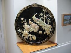 Vintage 60\u0027s Round Black Asian Wall Hanging Plaque Unique Wood Lacquered Panel Hand Carved Mother of Pearl Shells Oriental Art Shell & Vintage 60\u0027s Set of Two Asian Print Oriental Serving Dishes Woven ...
