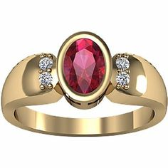 14K Yellow Gold Chatham Created Ruby and Diamond Ring: Jewelry: Amazon.com