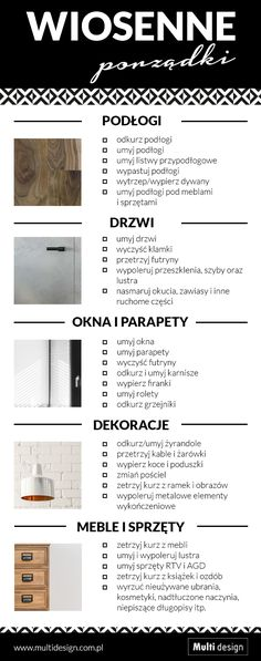 Checklista - wiosenne porządki, sprzątanie domu Hacks Diy, Home Hacks, House Cleaning Tips, Cleaning Hacks, Multi Design, Tidy Room, Homekeeping, Diy Cleaners, Organize Your Life