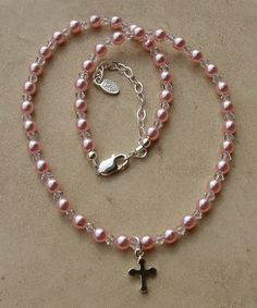 Beautiful First Communion Bracelet!  Look at this #zulilyfind! Sterling Silver Pink Pearl Necklace by Tiny Treasures  #zulilyfinds