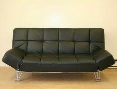 Venus Black Leatherette Sofa Bed Futonbed
