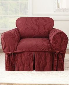 Sure Fit Matelasse Damask 1-Piece Chair Slipcover - Red