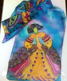 Menina# doll# silk scarf# blue. Atelier Nathalie Rousselet. http://elgatodeseda.blogspot.com.es. Made in Spain