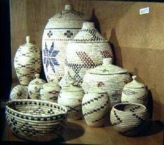 Coiled sea grass baskets from Yupik artists.