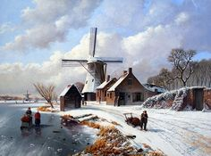 Rob van Assen - Molen in de winter met figuren - ArtBoutique