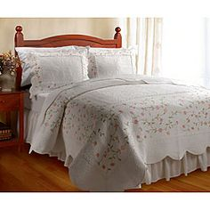 @Overstock - Enjoy a good night's sleep in a luxurious quilt set that complements any bedroom decor with shabby chic style. Bedding set includes quilt and two standard shams and is embroidered with sage and salmon-colored thread in a floral motif.  http://www.overstock.com/Bedding-Bath/Guinevere-Quilt-Set/3915563/product.html?CID=214117 $89.99