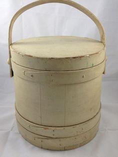 ANTIQUE Firkin Sugar Bucket Slant Side Staved Lidded Bucket Bale Handle Old Paint