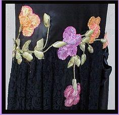 1920s Silk Cocktail Dress with silk ribbonwork flowers.