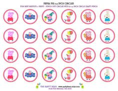 Peppa Pig Birthday Cupcake Toppers  Stickers  Tags by partybean, $4.99