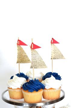 Wedding Cakes Paper Sailboat Cupcake Toppers, 12 vintage book paper pieces by thePathLessTraveled Nautical Cake, Nautical Party, Nautical Wedding, Anchor Cupcakes, First Birthday Parties, First Birthdays, Baby Shower Marinero, Fiesta Marinera, Athens