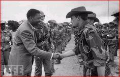 Moise Tshombe reviewing mercenaries