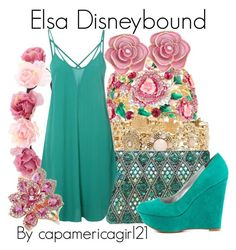 """Elsa Disneybound"" by capamericagirl21 ❤ liked on Polyvore featuring Charlotte Russe, Glamorous and Veda Soul"