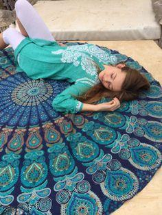 Curtains – Hippy Indian Mandala Boho Round Tapestry Yoga Mat – a unique product by IndianCraftPalace on DaWanda