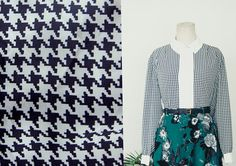 80s HOUNDSTOOTH Prints Top/ White Panel Button shirt by chaptervintage. sgd 55