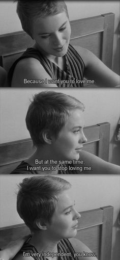 These sound like the thoughts that would run through my head when I was with you. Jean-Luc Godard, Breathless (À bout de souffle) French Film Jean Seberg, Films Cinema, Jean Luc Godard, Movie Lines, Gena Rowlands, French Films, Film Quotes, Cinema Quotes, Independent Films