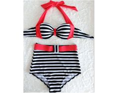 Vintage Retro Swimsuit Stripes Highwaisted High Waisted Waist High-Waist High-Rise Swimwear Bathing Swim suit