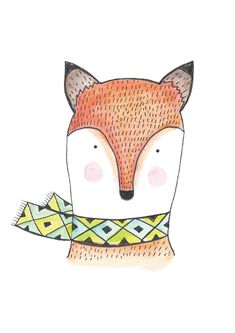 Foxy. Art Print. Illustration of a fox. Watercolour.  Etsy.  By Hello Pants