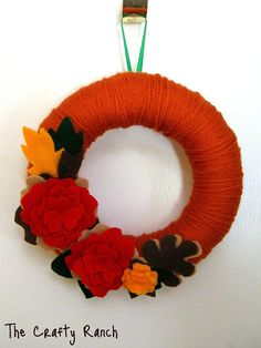 Fall Yarn Wreath 8 inches by on Etsy Fall Yarn Wreaths, Felt Wreath, Decor Crafts, Diy And Crafts, Wreath Forms, Autumn Theme, Crafty Craft, Felt Crafts, Fall Halloween
