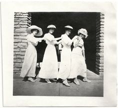 Old Photo 4 Women White Dresses and Hats in Line by girlcatdesign