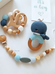 Whale shower gift box, Pregnancy gift set with whale rattle, Sea themed baby shower gift, Postpartum Baby boy present basket. Cotton Whale Rattle, wooden dummy clip and teething bracelet Newborn Baby Gifts, Baby Boy Gifts, Baby Shower Themes, Baby Shower Gifts, Crochet Toys, Crochet Baby, Baby Boy Gift Baskets, Presents For Boys, Baby Mobile