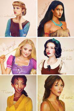 artist interpretation of Disney girls in realistic portrait-form