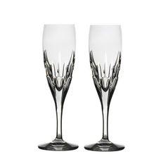 Crystal Flute Glasses, Set of 2