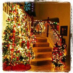 Staircase decorated for Christmas