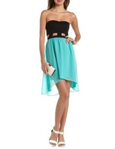 cutout waist 2-fer tube dress
