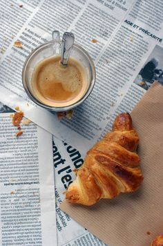 #Coffee, #croissant and #newspaper. Good morning ! [NO recipe].