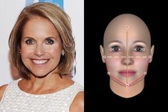 Katie Couric: With more width than height and with cheerful curved structure, Couric is a lovely Round face shape.