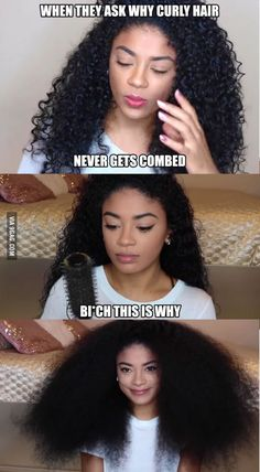 Curly hair problems. MAN THAT must have taken forever to comb through!